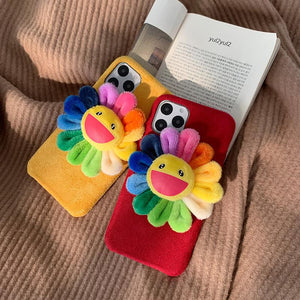 Takashi Murakami Style Flower Furry Shockproof Protective Designer iPhone Case For iPhone SE 11 Pro Max X XS Max XR 7 8 Plus - Casememe.com