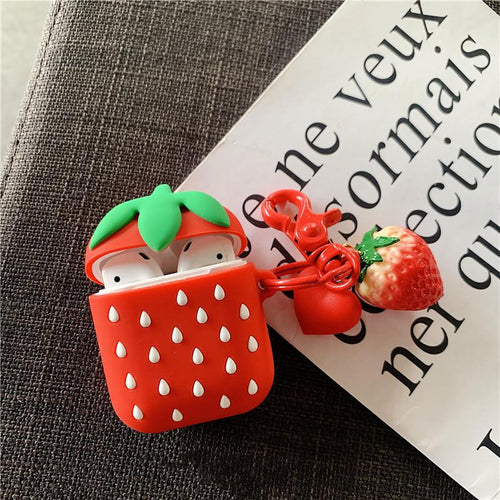Cute Strawberry Silicone Protective Shockproof Case For Apple Airpods 1 & 2 - Casememe