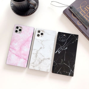 Black Marble Modern Glossy Square Silicone Shockproof Protective Designer iPhone Case For iPhone SE 11 Pro Max X XS Max XR 7 8 Plus - Casememe.com