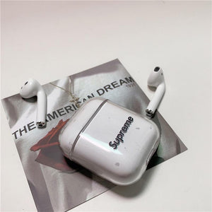 Supreme Style Logo Clear Hard Protective Shockproof Case For Apple Airpods 1 & 2 - Casememe.com