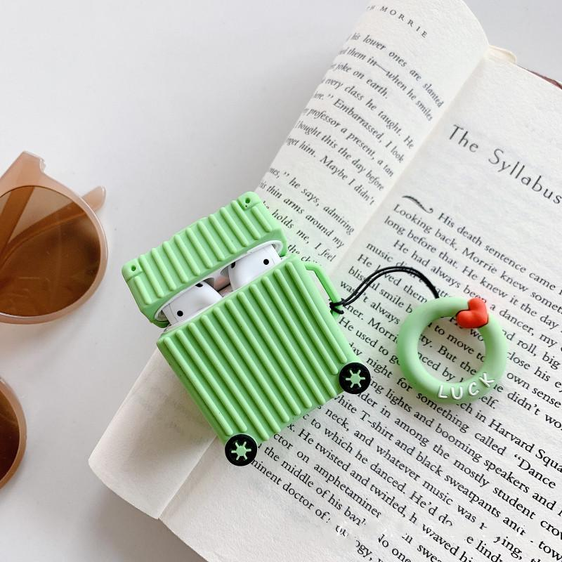 Cute Luggage Box Silicone Protective Shockproof Case For Apple