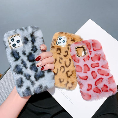 Retro Leopard Furry Shockproof Protective Designer iPhone Case For iPhone SE 11 Pro Max X XS Max XR 7 8 Plus - Casememe.com