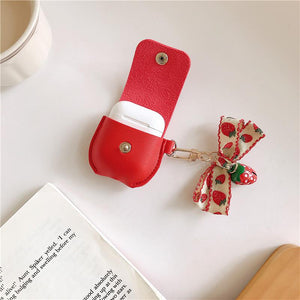 Cute Strawberry Leather Pocket Protective Case For Apple Airpods 1 & 2 - Casememe.com