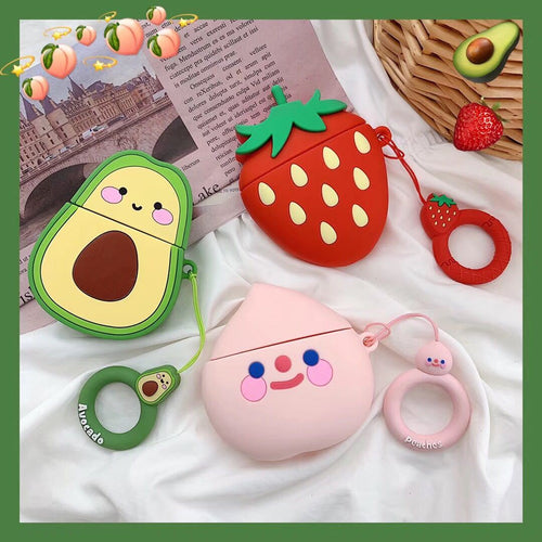 Cute Avocado Strawberry Silicone Designer Protective Shockproof Case For Apple Airpods 1 & 2 - Casememe.com