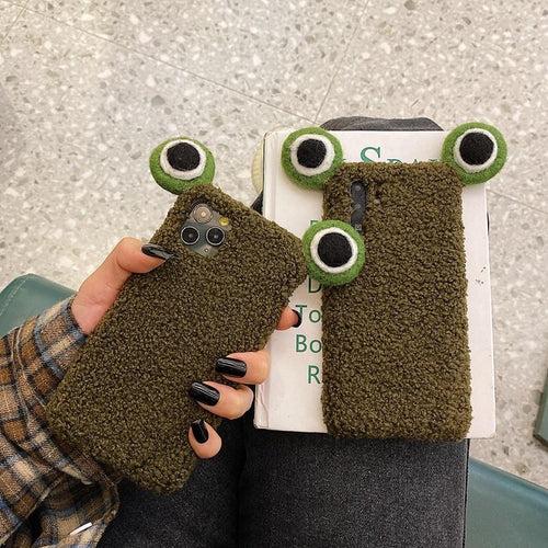 Cute Frog Eyes Furry Shockproof Protective Designer iPhone Case For iPhone SE 11 Pro Max X XS Max XR 7 8 Plus - Casememe.com
