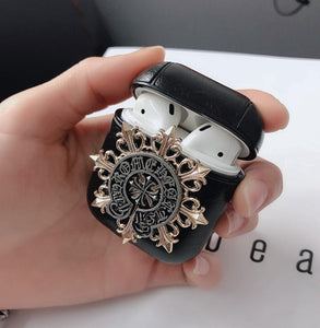 Gothic Chrome Heart Style Skull Wing Black Leather Protective Shockproof Case For Apple Airpods 1 & 2 - Casememe.com