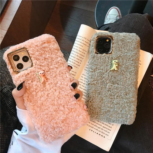 Dinasour Furry Shockproof Protective Designer iPhone Case For iPhone 11 Pro Max X XS Max XR 7 8 Plus - Casememe.com