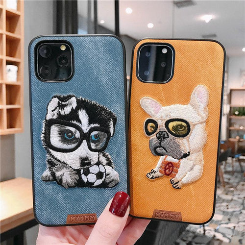 Husky French Bulldog Leather Embroidery Shockproof Protective Designer iPhone Case For iPhone 11 Pro Max X XS Max XR 7 8 Plus - Casememe.com