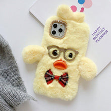Load image into Gallery viewer, Glasses DuDu Duck Furry Shockproof Protective Designer iPhone Case For iPhone 11 Pro Max X XS Max XR 7 8 Plus - Casememe.com