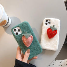 Load image into Gallery viewer, Cute 3D Strawberry Furry Shockproof Protective Designer iPhone Case For iPhone 11 Pro Max X XS Max XR 7 8 Plus - Casememe.com
