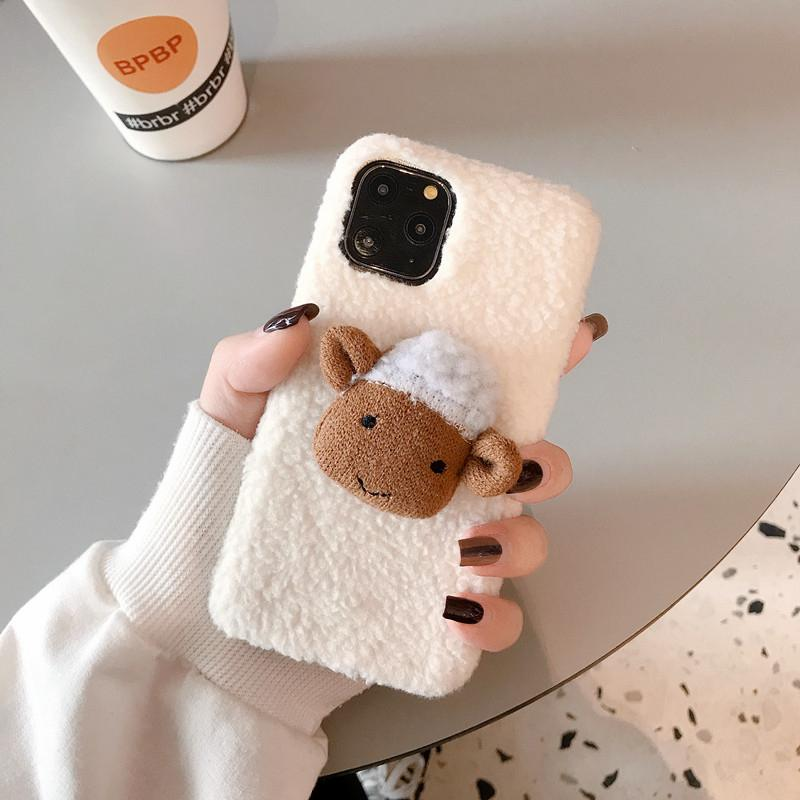 Cute 3D Sheep Furry Shockproof Protective Designer iPhone Case For iPhone SE 11 Pro Max X XS Max XR 7 8 Plus - Casememe.com