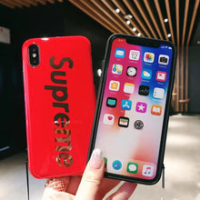 Load image into Gallery viewer, Supreme Style Glossy Electroplating Silicone Designer iPhone Case For iPhone X XS XS Max XR 7 8 Plus - Casememe.com