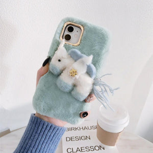 Unicorn Furry Shockproof Protective Designer iPhone Case For iPhone 11 Pro Max X XS Max XR 7 8 Plus - Casememe.com