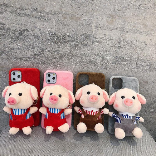Piggy Toy Furry Shockproof Protective Designer iPhone Case For iPhone 11 Pro Max X XS Max XR 7 8 Plus - Casememe.com