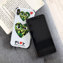 Load image into Gallery viewer, Comme Des Garcons CDG PLAY Style Camo Luggage Bumper Designer iPhone Case For iPhone SE 11 Pro Max X XS Max XR 7 8 Plus - Casememe.com