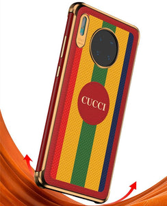 Gucci Style Stripe Leather Protective Designer iPhone Case For iPhone SE 11 Pro Max X XS Max XR 7 8 Plus