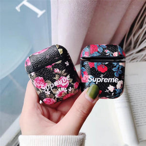 Supreme Style Floral Hard Protective Shockproof Case For Apple Airpods 1 & 2 - Casememe.com