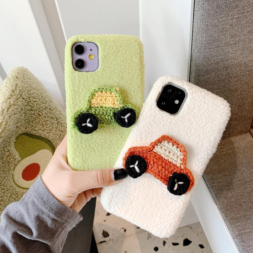 Knit Car Furry Shockproof Protective Designer iPhone Case For iPhone 11 Pro Max X XS Max XR 7 8 Plus - Casememe.com