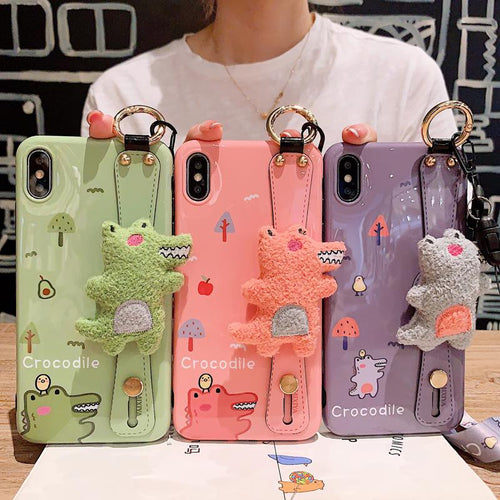 Cute Dinosaur Hand Strap Shockproof Protective Designer iPhone Case For iPhone SE 11 Pro Max X XS Max XR 7 8 Plus - Casememe.com