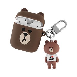 LINE Friends Bear Rabbit Cute Silicone Protective Shockproof Case For Apple Airpods 1 & 2 - Casememe.com