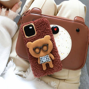 Bear with Glasses Furry Bumper Frame Shockproof Protective Designer iPhone Case For iPhone SE 11 Pro Max X XS Max XR 7 8 Plus - Casememe.com