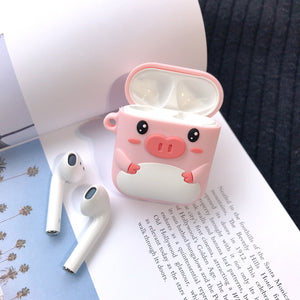 Cute Piggy Bear LINE Silicone Protective Shockproof Case For Apple Airpods 1 & 2 - Casememe.com