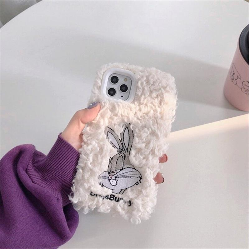Bugs Bunny Style Embroidery Furry Shockproof Protective Designer iPhone Case For iPhone 11 Pro Max X XS Max XR 7 8 Plus - Casememe.com