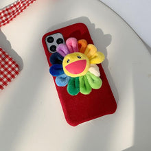 Load image into Gallery viewer, Takashi Murakami Style Flower Furry Shockproof Protective Designer iPhone Case For iPhone SE 11 Pro Max X XS Max XR 7 8 Plus - Casememe.com