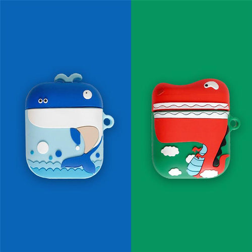 Cute Whale Dinosaur Silicone Protective Shockproof Case For Apple Airpods 1 & 2 - Casememe.com