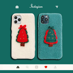 Christmas Tree Furry Shockproof Protective Designer iPhone Case For iPhone 11 Pro Max X XS Max XR 7 8 Plus - Casememe.com