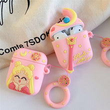 Load image into Gallery viewer, Sailor Moon Style Pink Silicone Protective Shockproof Case For Apple Airpods 1 & 2 - Casememe.com