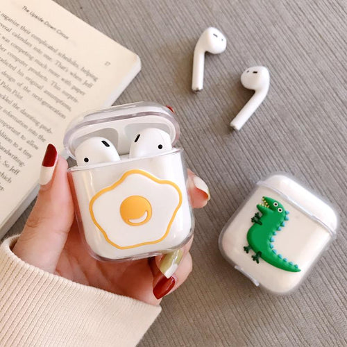 Sunny Egg Dinosaur Hard Clear Protective Shockproof Case For Apple Airpods 1 & 2