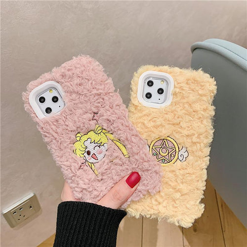 Sailor Moon Style Embroidery Furry Shockproof Protective Designer iPhone Case For iPhone 11 Pro Max X XS Max XR 7 8 Plus - Casememe.com
