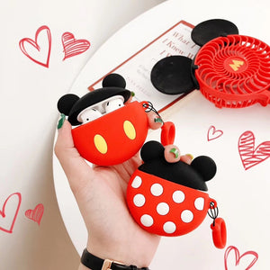 Disney Style Mickey Minnie Mouse Round Silicone Protective Shockproof Case For Apple Airpods 1 & 2 - Casememe.com