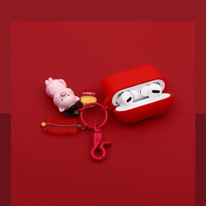 Pink Piggy Keychain Silicone Protective Case For Apple Airpods Pro - Casememe.com