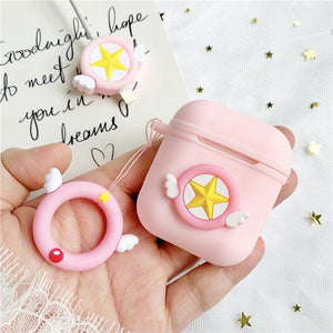 Sailor Moon Pink Star Silicone Protective Shockproof Case For Apple Airpods 1 & 2