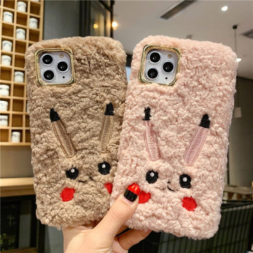 Pikachu Style Cute Furry Shockproof Protective Designer iPhone Case For iPhone 11 Pro Max X XS Max XR 7 8 Plus - Casememe.com