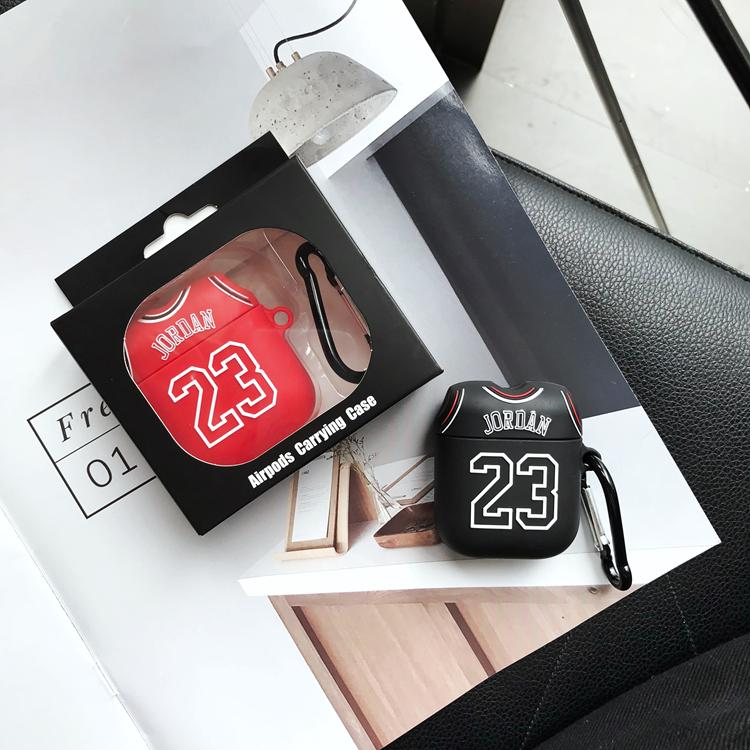 info for 7044b 8ba55 Air Jordan 23 Jersey Silicone Protective Shockproof Case For Apple Airpods  1 & 2
