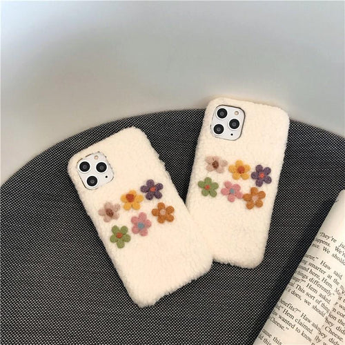 Felt Floral Furry Shockproof Protective Designer iPhone Case For iPhone SE 11 Pro Max X XS Max XR 7 8 Plus - Casememe.com