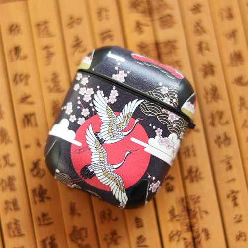 Ukiyo-e Japanese Bird Black Silicone Protective Shockproof Case For Apple Airpods 1 & 2 - Casememe.com