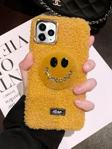 Smile Face Style Furry Shockproof Protective Designer iPhone Case For iPhone SE 11 Pro Max X XS Max XR 7 8 Plus - Casememe.com