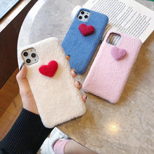 Load image into Gallery viewer, Heart Cute Furry Shockproof Protective Designer iPhone Case For iPhone SE 11 Pro Max X XS Max XR 7 8 Plus - Casememe.com