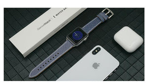 Blue Jeans Leather Modern Compatible With Apple Watch 38mm 40mm 42mm 44mm Band Strap For iWatch Series 4/3/2/1 - Casememe.com
