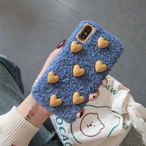 Minimalism Heart Furry Shockproof Protective Designer iPhone Case For iPhone SE 11 Pro Max X XS Max XR 7 8 Plus - Casememe.com