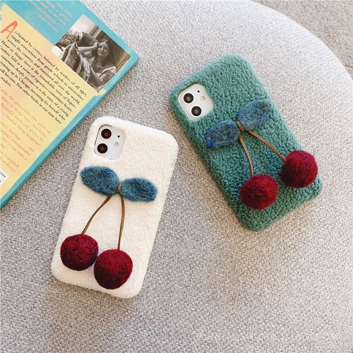 Cute 3D Cherry Furry Shockproof Protective Designer iPhone Case For iPhone SE 11 Pro Max X XS Max XR 7 8 Plus - Casememe.com