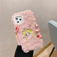 Load image into Gallery viewer, Sailor Moon Style Embroidery Furry Shockproof Protective Designer iPhone Case For iPhone 11 Pro Max X XS Max XR 7 8 Plus - Casememe.com