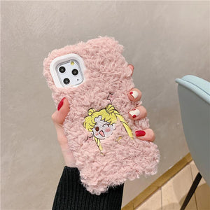 Sailor Moon Style Embroidery Furry Shockproof Protective Designer iPhone Case For iPhone SE 11 Pro Max X XS Max XR 7 8 Plus - Casememe.com