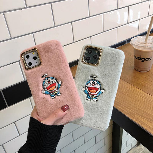 Doraemon Style Furry Shockproof Protective Designer iPhone Case For iPhone SE 11 Pro Max X XS Max XR 7 8 Plus - Casememe.com