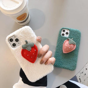 Cute 3D Strawberry Furry Shockproof Protective Designer iPhone Case For iPhone 11 Pro Max X XS Max XR 7 8 Plus - Casememe.com