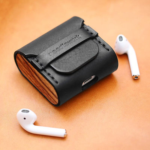 Leather Wooden Earphone Protective Shockproof Case For Apple Airpods 1 & 2 - Casememe.com